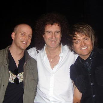 FretHub's Bobby Harrison and Nick Radcliffe, with Brian May from Queen
