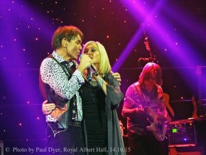 Bobby, performing with Sir Cliff Richard and Olivia Newton-John at London's Royal Albert Hall.